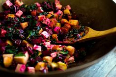 stir fried beet greens, beets & tofu