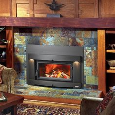 Transform your old masonry fireplace with the clean, contemporary, sleek design of the Perfect-Fit Plus wood insert with the Cypress™ face. By Avalon; available from Rich's for the Home Wood Burning Insert, Wood Insert, Modern Fireplace, Fireplace Design, Fireplace Ideas, Pellet Stove Inserts, Insert Stove, Wood Burning Fireplace Inserts, Fireplace Cover