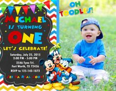 Items similar to Mickey Mouse Clubhouse Party Invitation - Mickey Mouse Clubhouse Birthday Invitation - Printable Photo Invitation - FILE to PRINT on Etsy Mickey Mouse Clubhouse Invitations, Mickey Mouse Birthday Invitations, Mickey Mouse Bday, Mickey Mouse Clubhouse Birthday Party, Mickey Birthday, Mickey Party, Printable Birthday Invitations, Birthday Party Themes, Twins 1st Birthdays
