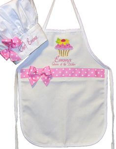 PERSONALIZED FREE Child's Ribbon Apron White Flower Cupcake with Chefs Hat Free Ship on Etsy, $34.08 CAD