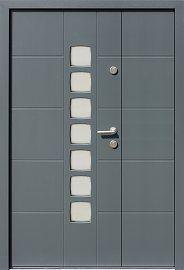Drzwi zewnętrzne dwuskrzydłowe nowoczesne wzór 946,11 w kolorze ral 7035
