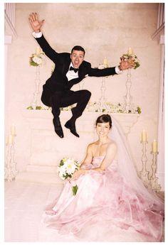 Jessica Biel: love her pink wedding gown. Justin Timberlake looks like he's having fun too. #wedding #weddingdress