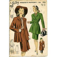1940s Coat and Skirt Pattern DuBarry 5933 Misses Raglan Sleeve Swing... ($48) ❤ liked on Polyvore