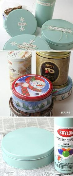 DIY - Upcycling old Tins. Spray paint used was Krylons Indoor/Outdoor Satin Catalina Mist. Step-by-Step Tutorial.