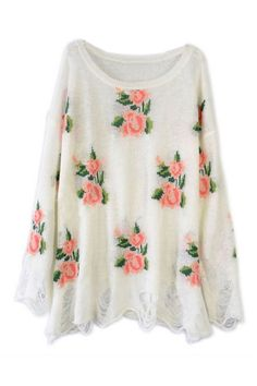 Wildfox Couture style without the $ 200 Wildfox Couture price tag.  This sweater is under $40!! White sweater,featuring a pink color with floral printed,a round neckline with long sleeves styling,orange-pink flowers and green leaves printed,irregular hems with hollow out details finish.