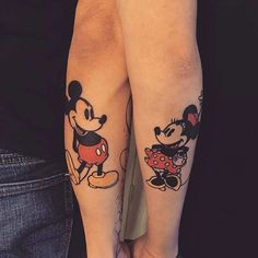 Cute, Vintage Mickey and Minnie Tattoos for Couples