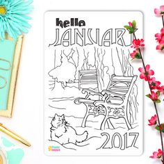 Hello January Coloring Sticker Monthly Bullet Journal