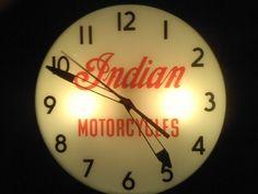 Indian Motorcycles Clock (Vintage 1950 Motorcycle Dealer Clock, Old Lighted Advertising PAM Clock)