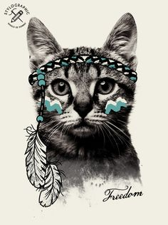 """Freedom - """"Gipsy cat"""" Peace, Love and Freedom. Digital print for fashion and more. Made by Danilo De Donno, Freelance graphic designer (Stylographic Studio). www.danilodedonno.com"""