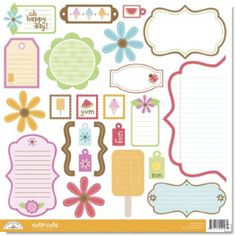 Doodlebug Design - Summertime Collection - Cute Cuts - 12 x 12 Cardstock Die Cuts at Scrapbook.com $1.99