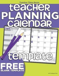 Printable  Teacher Planning Calendar Template  Printable