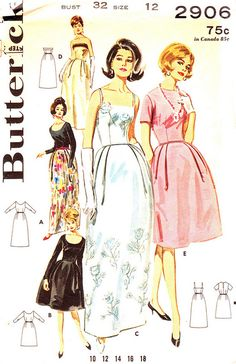 Vintage 1960s Misses' Bell Skirted Evening Dress Size 12 Butterick 2906