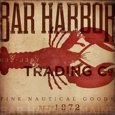 Bar Harbor Maine lobster trading company nautical graphic art illustration on canvas 14 x 14 by stephen fowler. $99.00, via Etsy.
