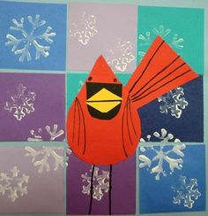 Charley Harper Winter Cardinals grade 3 Fountain Woods Elementary School artsonia