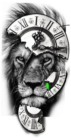 Tiger Tattoo Design, Clock Tattoo Design, Tattoo Design Drawings, Lion Tattoo Sleeves, Best Sleeve Tattoos, Tattoo Sleeve Designs, Lion Head Tattoos, Mens Lion Tattoo, Lion Shoulder Tattoo