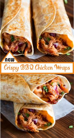 My family loves these Crispy BBQ Chicken Wraps, are all the yummy, cheesy goodness of a BBQ chicken pizza, toasted in a crispy wrap. Think Food, I Love Food, Good Food, Yummy Food, Bbq Chicken Wraps, Chicken Wrap Recipes, Healthy Chicken Wraps, Party Chicken, Healthy Wraps