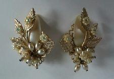 Vintage De Mario Haskell Style White Pearl Rhinestone Flower Gold Tone Earrings