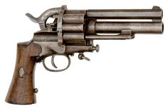 """Centerfire Cartridge LeMat Revolver 4/26 & 4/27 - Firearms and Militaria: Live Salesroom Auction 12mm caliber, 4.75"""" octagonal barrel, S/N 3. Center barrel smoothbore, marked on top of the barrel Colonel LeMat Patent. Blue finish with some of the parts finished in a straw color.  Two-piece walnut grips"""