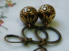 Gold and Black Vintage style Dangling Earrings by elinoryamin, $15.00