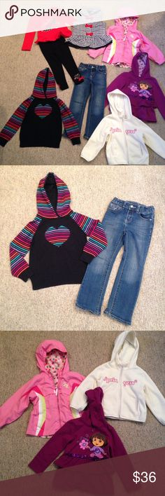 Name brand 4T bundle Girls winter/spring name brand clothes bundle! Kids Headquarters fabulous knit outfit and puffer vest set, Gap rainbow heart sweater, Genuine Kids adjustable waist jeans, Dora the Explorer hooded zippered sweatshirt, Old Navy hooded zippered fleece shirt, and Zero Exposer reversible windbreaker jacket. Price is firm as has already been discounted as a bundle. Most items are listed separately in my closet as well at higher prices. Matching Sets