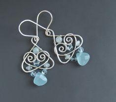 Aquamarine sterling silver earrings blue natural healing