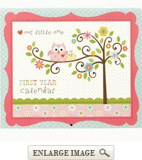 Pink, blue, and green Happi Tree Babys 1st Year Calendar Keepsake