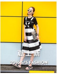 买二送一S家原创2016夏季蝴蝶结条纹背带裙女时尚品牌无袖中长裙-淘宝网全球站