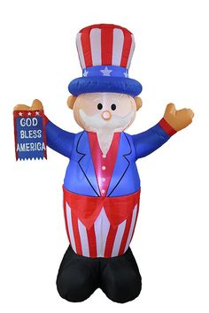 6 Foot Tall Patriotic Independence Day Inflatable Uncle Sam w/ God Bless America Flag -- Find out more about the great product at the image link.