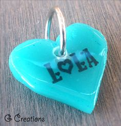 Turquoise Heart Pet ID Tag  Cute Dog & Cat by GabriellesCreations 30% #DISCOUNT #coupon #code 2015WISHES