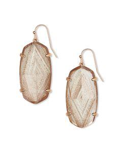 Kendra Scott Marty Silver Drop Earrings in Amethyst Dichroic Glass New Dust Bag