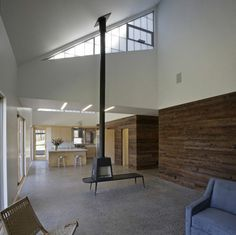 modern living room by Lynn Gaffney Architect, PLLC - & again w/ nice catwalk & unusual open to below cut-out, also assume porch is above kitchen