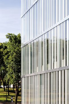Image 29 of 30 from gallery of Les Quinconces Cultural Center / Babin+Renaud. Facade Architecture, Contemporary Architecture, Fritted Glass, Facade Pattern, Great Buildings And Structures, Glass Facades, Le Havre, Cecile, Metal Panels