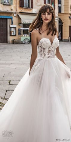 pinella passaro 2018 bridal strapless sweetheart neckline heavily embellished bodice tulle skirt romantic a line wedding dress chapel train (2) zv -- Pinella Passaro 2018 Wedding Dresses