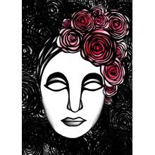 "Juliste ""Ruusuleidi, pinkit kukat/mustavalkoinen"" - A4, A3, 50x70cm Female, Portrait, Tattoos, Wall, Design, Tatuajes, Headshot Photography, Tattoo"