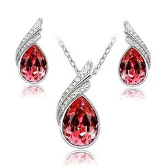 Austrian Crystal Jewelry Sets For Women Fashion Stud Earrings & Necklace Women Silver Plated Wedding Jewelry Sets, Engagement Jewelry, Wedding Rings, Gemstone Jewelry, Crystal Jewelry, Crystals And Gemstones, Healing Crystals, Drop Necklace, Pendant Necklace