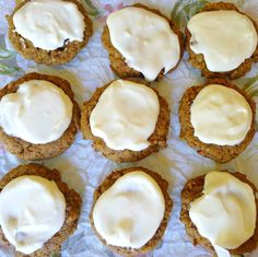 frosted pumpkin spice cookies - large cookies with a delicious cream cheese frosting Low Carb Deserts, Low Carb Sweets, Paleo Dessert, Delicious Desserts, Dessert Recipes, Party Recipes, Cookie Recipes, Pumpkin Spice Cookies, Sugar Free Desserts