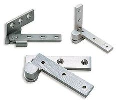 "pivot hinge 4"" chrome or steel finish. Simons also has 3.5"" hinges which is better."