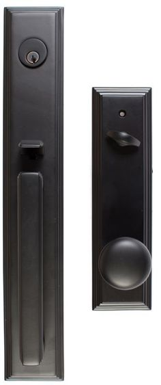 Emtek 4212 Melrose Single Cylinder Keyed Entry Brass Modern Handleset Flat Black Handleset Keyed Entry Single Cylinder