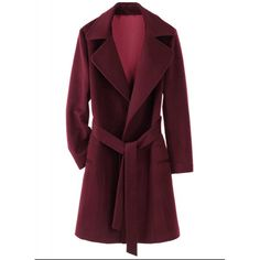 Noble Solid Color Belt Self Tie Turn-Down Collar Wool Coat For Women