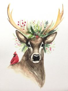 Out, Christmas deer - ?All Decked Out, Christmas deer - ?Decked Out, Christmas deer - ?All Decked Out, Christmas deer - ? Xmas Drawing, Christmas Drawing, Christmas Paintings, Painting & Drawing, Reindeer Drawing, Drawing Tips, Christmas Pictures To Draw, Christmas Artwork, Christmas Card Images