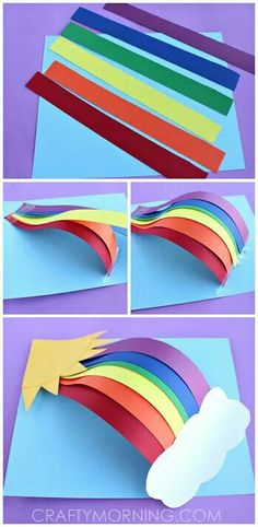 Paper Rainbow Craft diy craft crafts easy crafts diy ideas diy crafts kids crafts paper crafts crafts for kids activities for kids Paper Crafts For Kids, Projects For Kids, Diy For Kids, Fun Crafts, Paper Crafting, Craft Projects, Craft Ideas, 3d Craft, Diy Paper