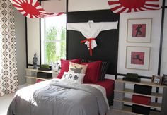 Bedroom, Awesome Japanese Karate Bedroom Theme With Karate Costume On Wall, Karate Kid Picture As Accessories Furnished With Red Bed Sheet: Cool Themes For Rooms To Evoke Certain Awesome Nuance Kids Bedroom Designs, Boys Bedroom Decor, Bedroom Themes, Bedroom Styles, Boy Bedrooms, Bedroom Ideas, Japanese Style Bedroom, Japanese Home Decor, Asian Home Decor