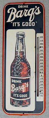 1952 Barq's Advertising Tin Sign w/Thermometer, my son in laws love!