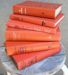 tangerine vintage books from EphemeralDesires on Etsy $25.00 fall 2012 color trend report // visit us online at www.dailyetsyfeature.blogspot.com