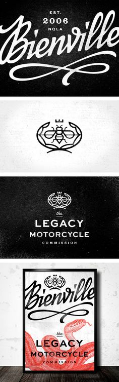 """Eight Hour Day, Bienville identity. Beautiful solution for a motorcycle company. Slightly reminiscent of the Cadillac logo, but with a """"sting"""" and a gritty edge. The poster is also beautiful and makes the brand appear old school (even though it was only started in 2006)."""