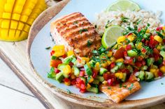 This Grilled Lime Salmon Avo-Mango Salsa is Mouthwatering & Fast! Salad Recipes For Dinner, Entree Recipes, Healthy Salad Recipes, Clean Eating Recipes, Grilling Recipes, Fish Recipes, Seafood Recipes, Healthy Eating, Healthy Grilling