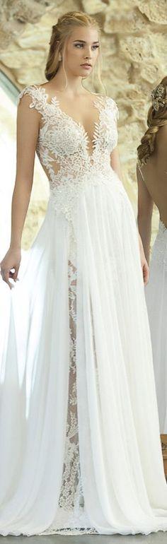 Tendance Robe De Mariée 2017/ 2018 : emanuel haute #couture #bridal 2015 sexy sheath wedding dress lace bodice illusi
