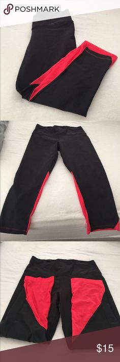 Nike leggings Worn less than 5 times. Black with red mesh on the back of each leg Nike Pants Leggings