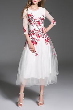 Elegant Red and White Floral Embroidered Tulle Prom Dress #Elegant #Embroidered #Party_Dresses