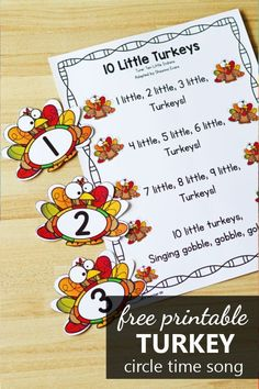 Free printable 10 little turkeys Thanksgiving song for preschool and kindergarten. Practice counting and number recognition with this adorable 10 Little Turkeys preschool song. This is the perfect fun song to sing in the fall during your Thanksgiving theme activities with kindergarteners and preschoolers.
